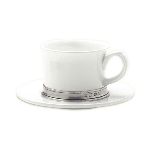 Convivio Cappuccino/Tea Cup with Saucer, Set of 2 by Match Pewter