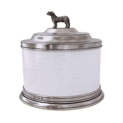 Convivio Cookie Jar with Dog Finial by Match Pewter