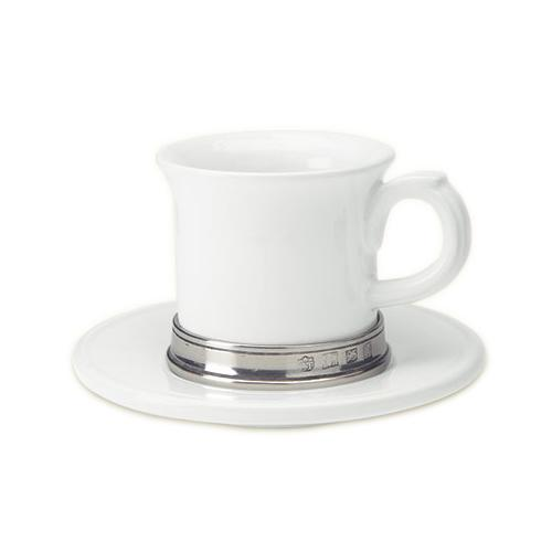 Convivio Espresso Cup with Saucer, Set of 2 by Match Pewter