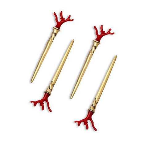 Coral Cocktail Single-Prong Picks, Set of 4 by L'Objet