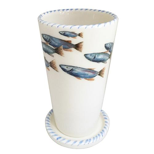 "Lake Fish Ceramic Glass with Lid, 6"", Set of 4 by Abbiamo Tutto"