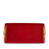 Bambou Rectangular Red Porcelain Tray, Medium by L'Objet