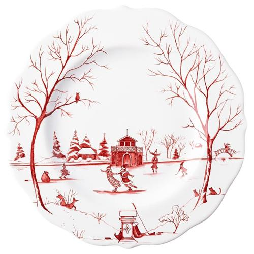"Country Estate Winter Frolic ""The Claus' Christmas Day"" Ruby Salad/Dessert Plate by Juliska"