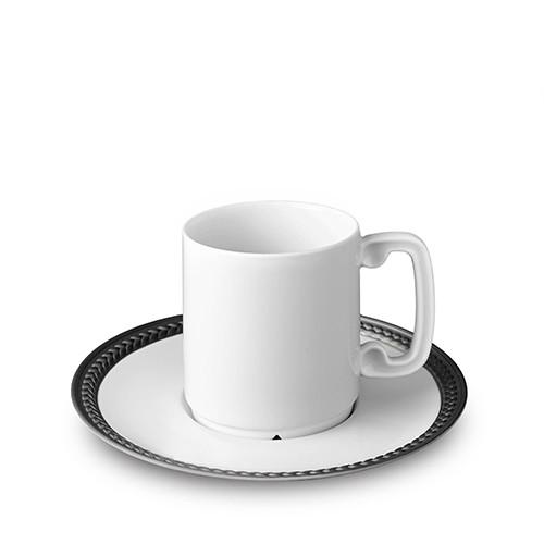 Soie Tressee Black Espresso Cup & Saucer by L'Objet