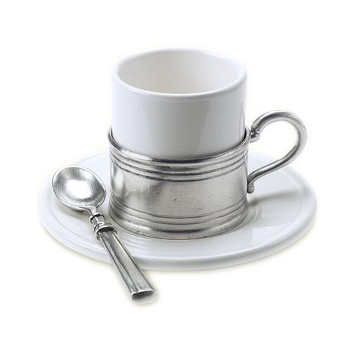 Espresso Cup with Ceramic Saucer, Set of 2 by Match Pewter
