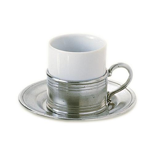 Espresso Cup with Saucer, Set of 2 by Match Pewter