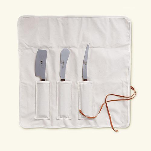 No. 435 Versatile Cheese Knife 3 Piece Set with Tortoise Lucite Handles in Fabric Roll-Up by Berti