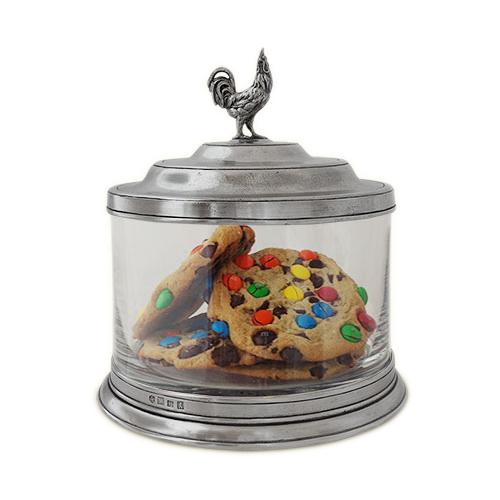Glass Cookie Jar with Rooster Finial by Match Pewter
