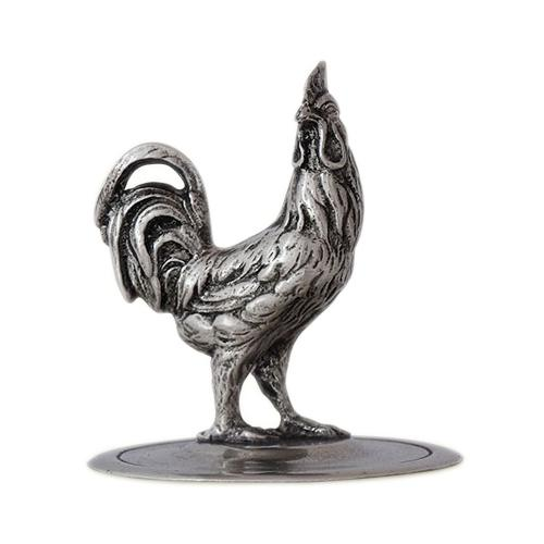 Glass Cookie Jar w/ Rooster Finial by Match Pewter
