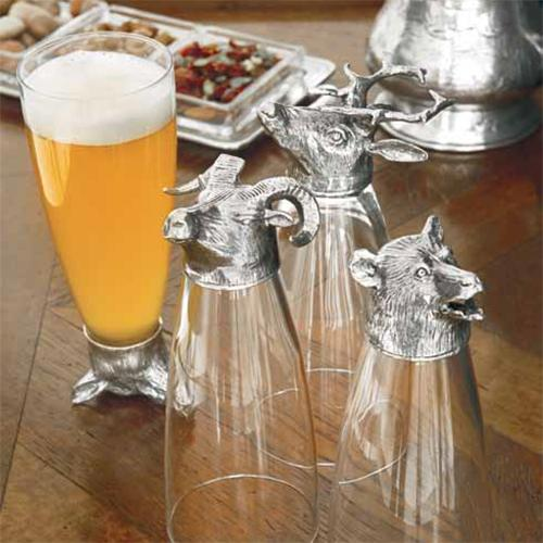Animale Stag Pilsner Beer Glass, Set of 2 by Arte Italica