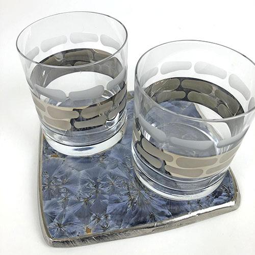 "Borealis Blue Large Coaster, 7"", Set of 2 by Michael Wainwright"