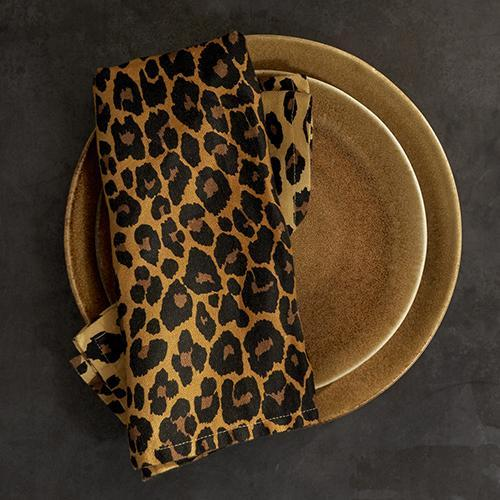 Leopard Linen Sateen Napkins, Set of 4 by L'Objet