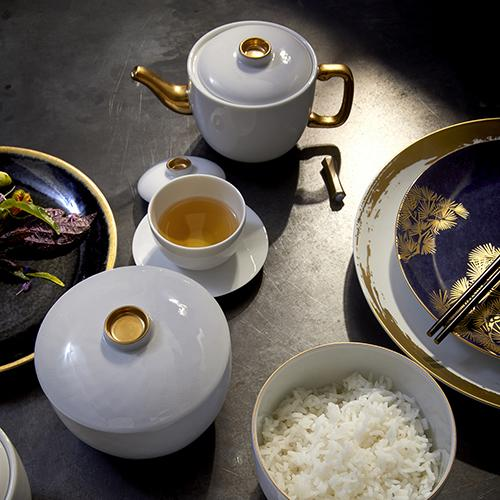 Zen Tea Set: Teapot, 2 Cups and Saucers by L'Objet