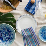 "Sitio Stripe Indigo 17"" Serving Platter by Juliska"