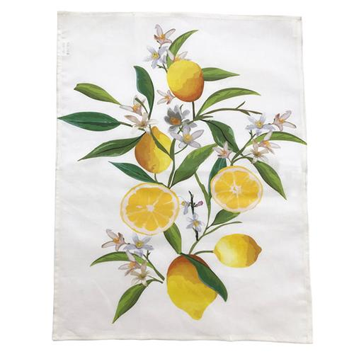 "Lemon Linen Screened Kitchen Towel, 28"" x 20"", Set of 4 by Abbiamo Tutto"