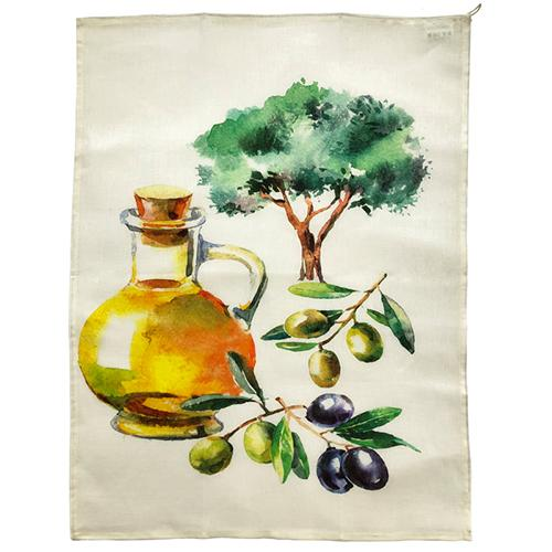 "Oil & Olive Linen Screened Kitchen Towel, 28"" x 20"", Set of 4 by Abbiamo Tutto"