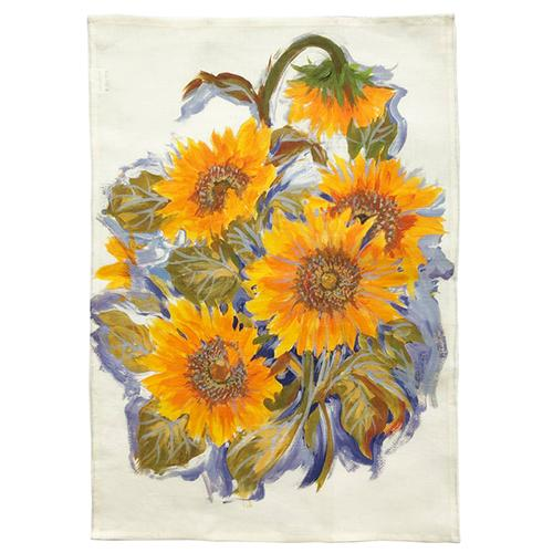 "Sunflowers Linen Screened Kitchen Towel, 28"" x 20"", Set of 4 by Abbiamo Tutto"
