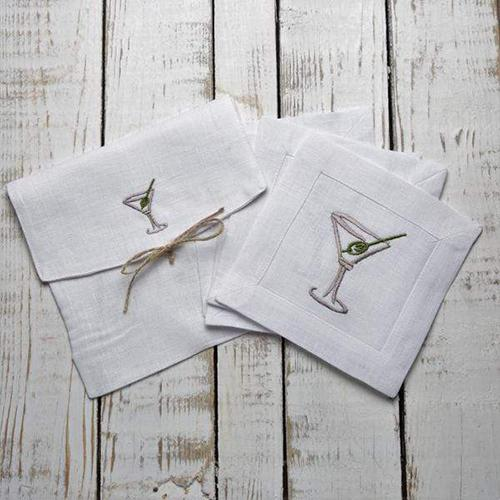 Martini Cocktail Napkins, Set of 4 by Crown Linen Designs