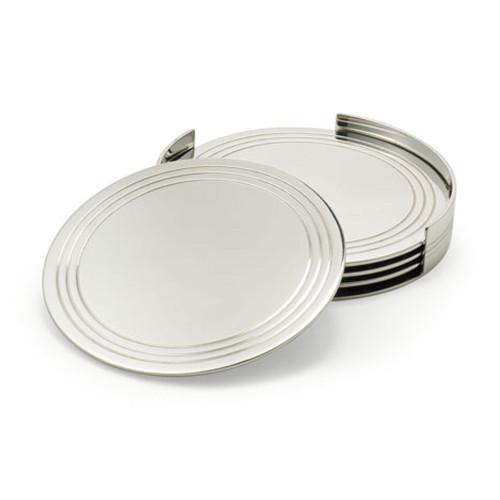 Montgomery Silverplated Glass Coasters by Ralph Lauren