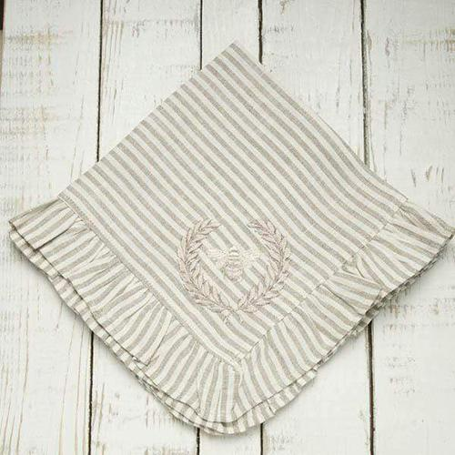 "Embroidered Bumble Bee with Ruffle Edge Napkin, 19"", set of 6 by Crown Linen Designs"