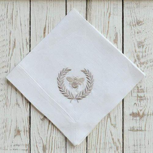 "Embroidered Bumble Bee Napkin, 19"", set of 6 by Crown Linen Designs"