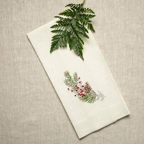 "Natale Sprig Linen 17"" x 29"" Towel by Crown Linen Designs"