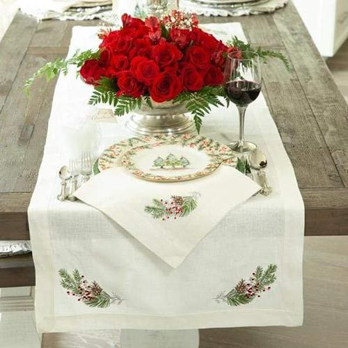 Natale Sprig Linen Table Runner by Crown Linen Designs