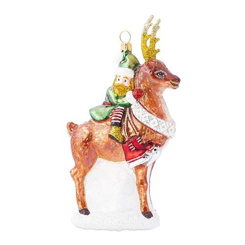 Country Estate Reindeer Games Dancer the Reindeer with Elf Glass Ornament by Juliska