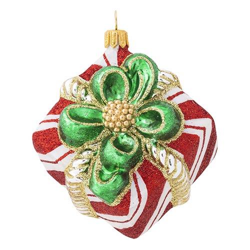 Berry and Thread Red & White Stripe Present Glass Ornament by Juliska