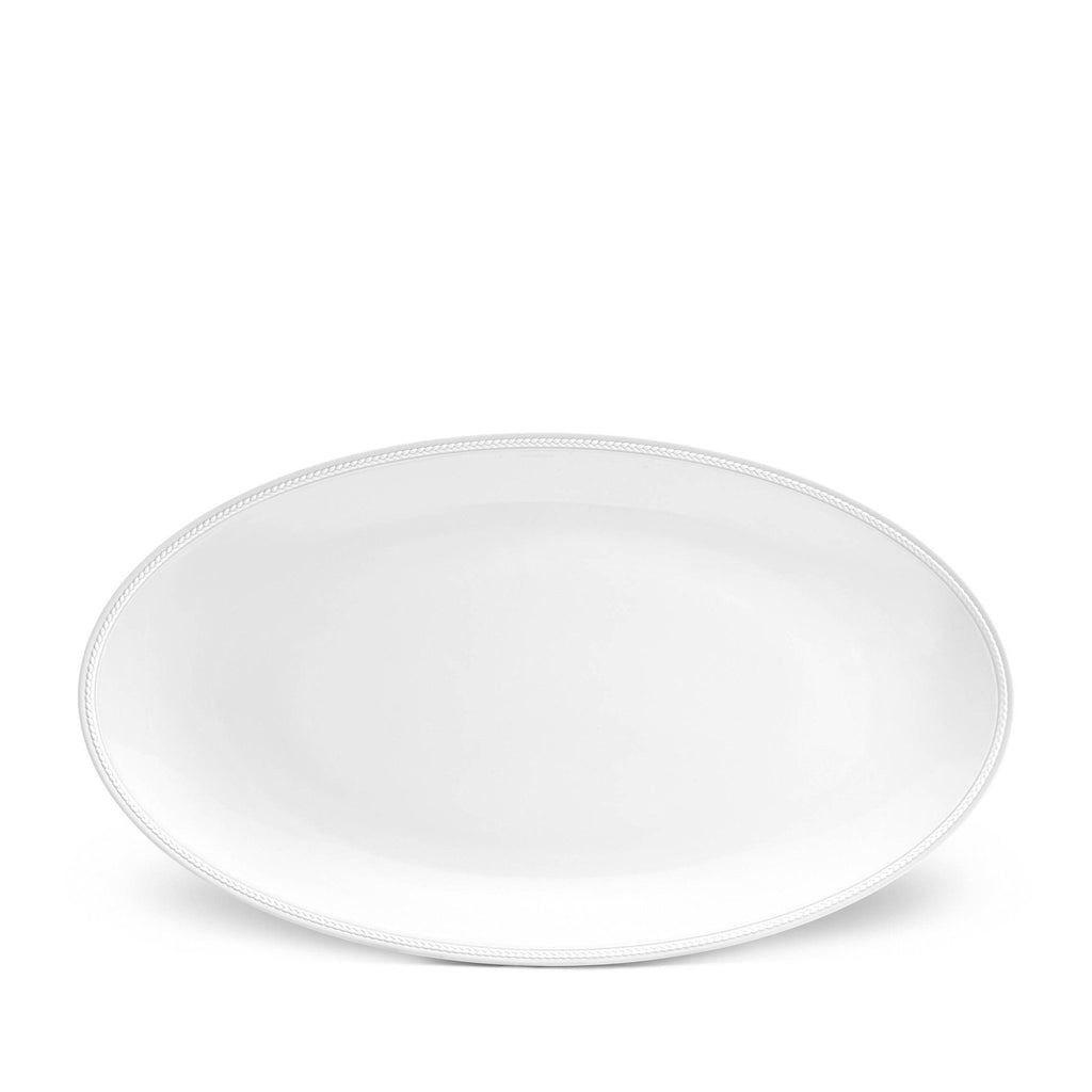 Soie Tressee White Oval Platter, Large by L'Objet