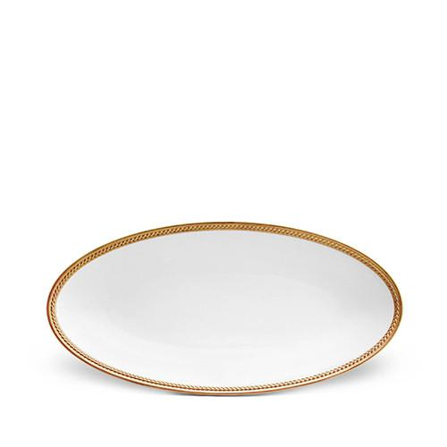 Soie Tressee Gold Oval Platter, Small by L'Objet