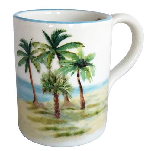 Palm Breezes Mug with Handle 15 oz., Set of 3 by Abbiamo Tutto