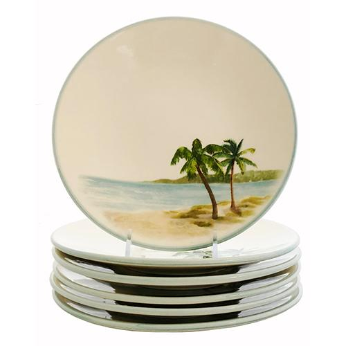 "Palm Breezes Salad/Dessert Plate 8"", Set of 6 by Abbiamo Tutto"
