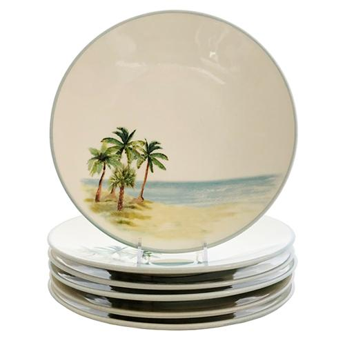 "Palm Breezes Dinner Plate 10"", Set of 6 by Abbiamo Tutto"
