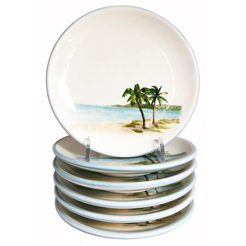 "Palm Breezes Canape Plate, 5.75"", Set of 6 by Abbiamo Tutto"