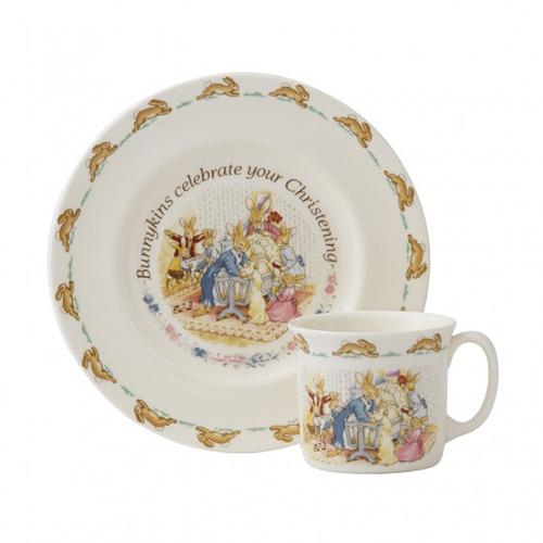 Bunnykins Nurseryware 2 Piece Christening Set (Plate and Cup) by Royal Doulton