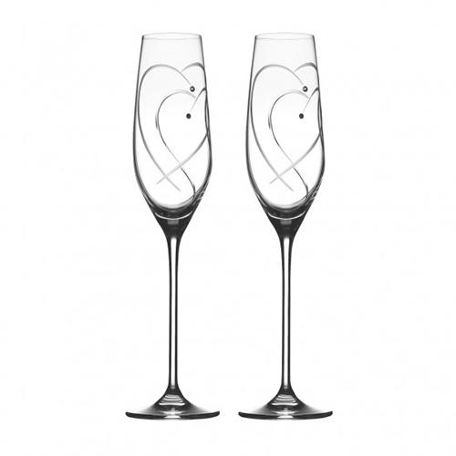 Promises Two Hearts Entwined Champagne Flutes by Royal Doulton