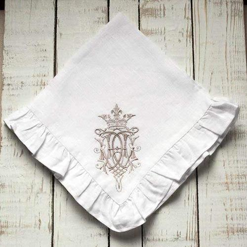 "Embroidered Royal Napkin with Ruffle, 19"", set of 6 by Crown Linen Designs"