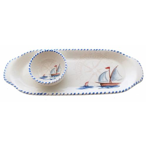 "Sailboat Tray & Small Bowl Set, 12.5"" x 4.5"" by Abbiamo Tutto"