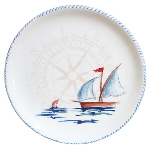 "Sailboat Round Tray/Charger/Cake Plate, 12.5"" by Abbiamo Tutto"