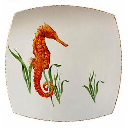 Seahorse Square Plate, 12.5