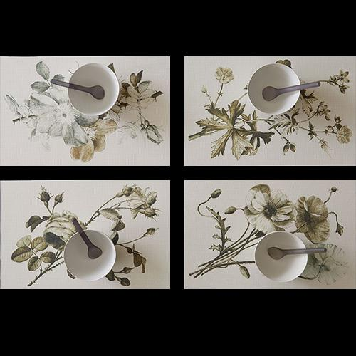 Chilewich: Sepia Plants & Flowers Woven Vinyl Placemats, Set of 4