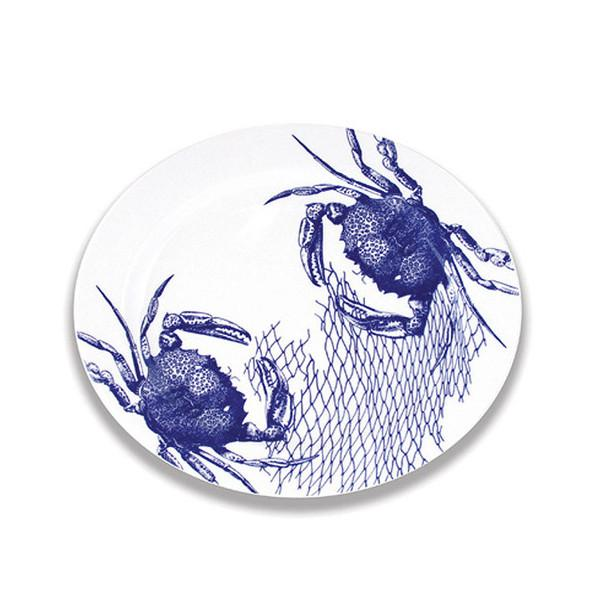 "Blue Crabs Oval Platter, 15"" by Caskata"