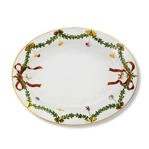 Star Fluted Christmas Oval Platter, Large by Royal Copenhagen