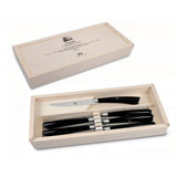No. 642 Plenum Steak Knives with Black Lucite Handles, Set of 6 by Berti