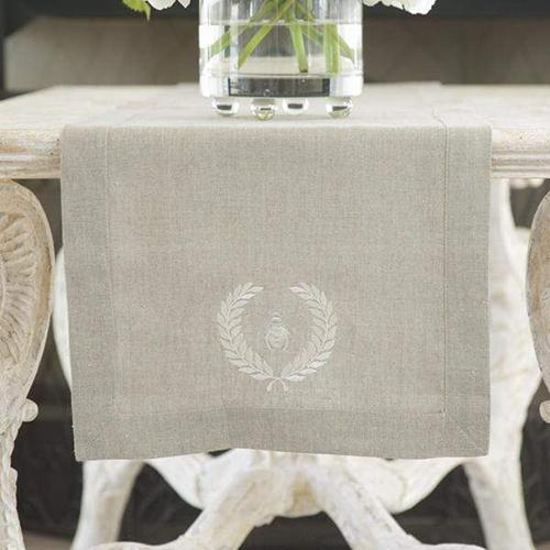 Embroidered Bumble Bee Table Runner by Crown Linen Designs
