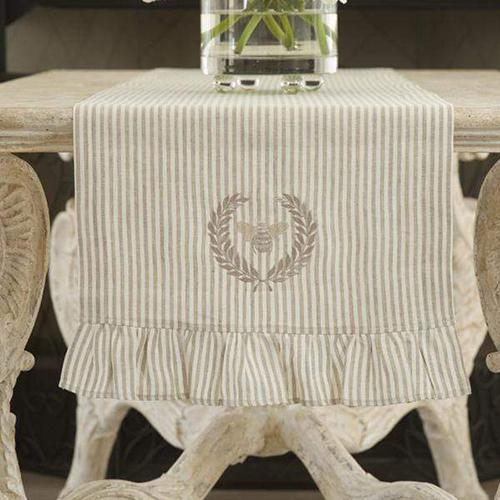 Embroidered Bumble Bee Table Runner with Ruffle by Crown Linen Designs