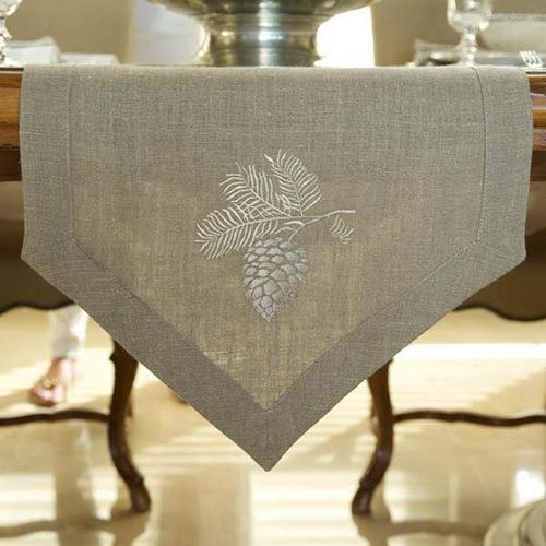 Pinecone Table Runner by Crown Linen Designs