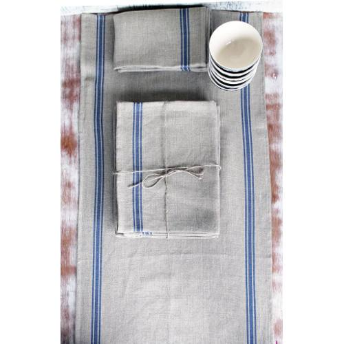 "French Monogramme Linen 60"" Table Runner by Thieffry Freres & Cie"
