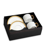 Soie Tressee Gold Tea Cup & Saucer, Set of 2 by L'Objet
